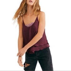 Free People Turn It On Camisole VETIVER BLOOM M